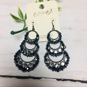 Jewelry - Beaded Hoop Earrings black  Drop Lead and Nickel